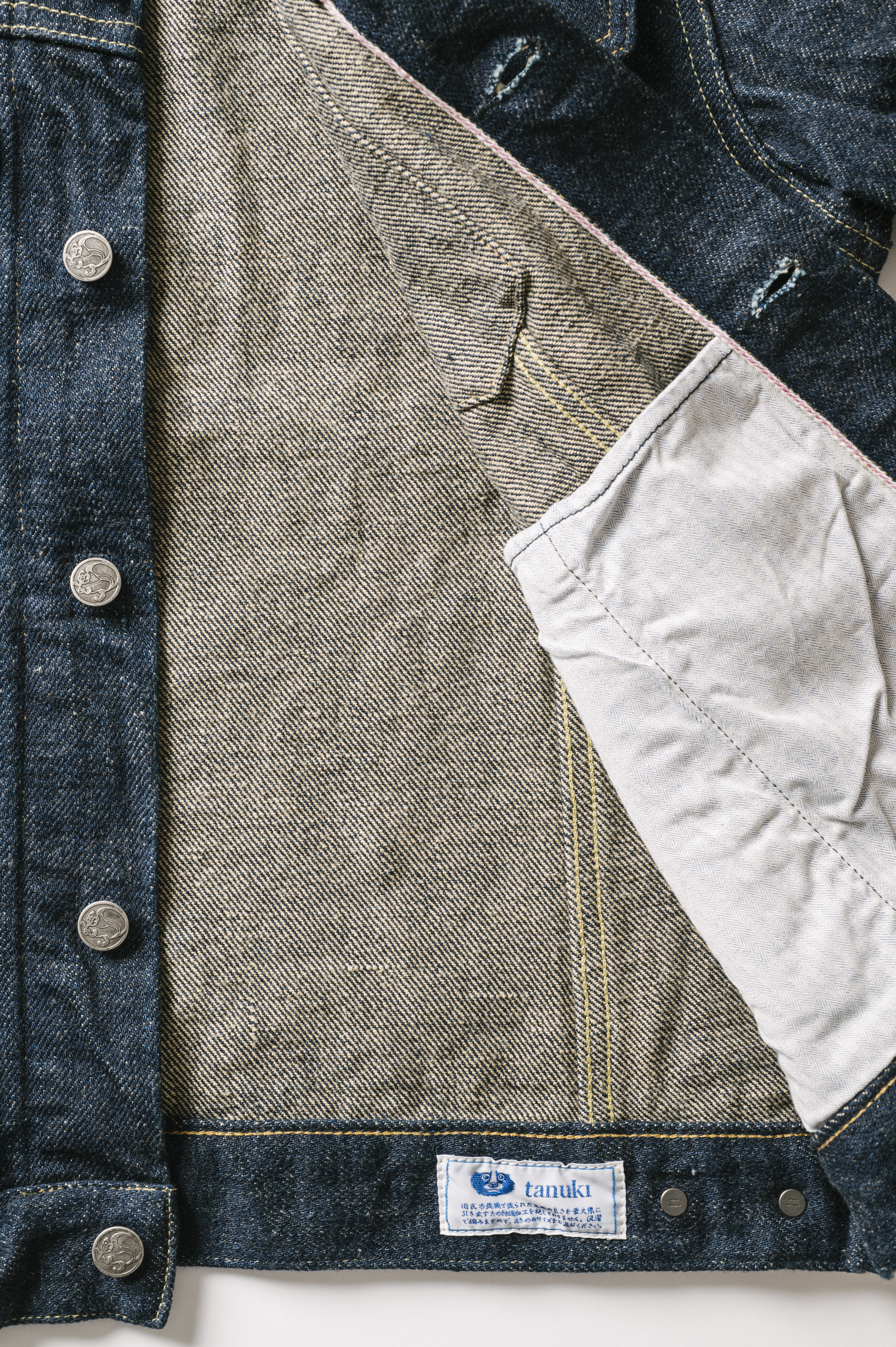 OTJKT3 ONI x TANUKI Collaboration 21.5oz Secret Denim Signature 3rd Jacket with handwarmers,, large image number 2